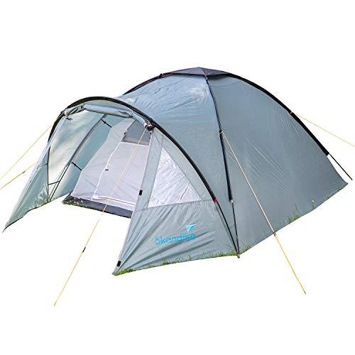skandika Dale 3 Personen Zelt, Kuppelzelt für 3 Mann, Campingzelt mit Moskitonetz, Leicht Trekkingzelt Wasserdicht, Zelt für Camping, Outdoor und Wandern