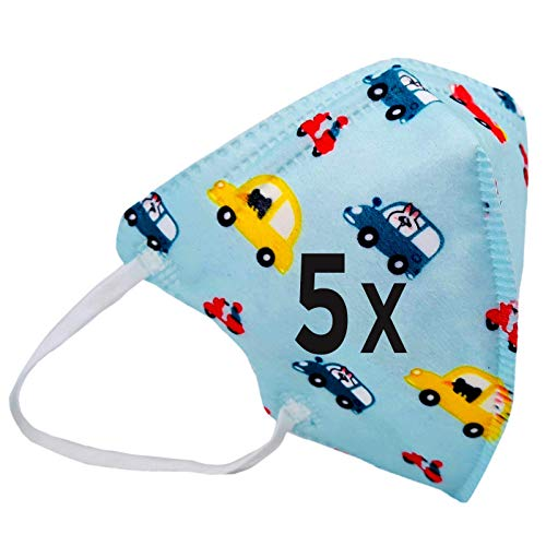 5er Set Mundmaske Einwegmaske für Kinder Gesichtsmaske 4-lagig Maske (BLAU)