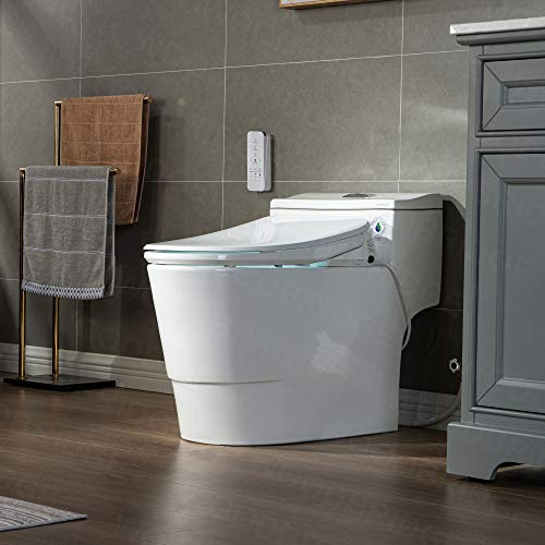 WOODBRIDGE T-0047 One Piece 1.1GPF/1.6 GPF Dual Flush Elongated Toilet...