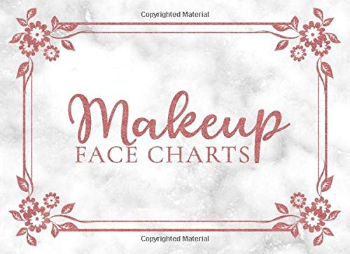 Makeup Face Charts: Practice Worksheets for Artists who Love to Create and Dream | Girly Rose Gold on Marble Design