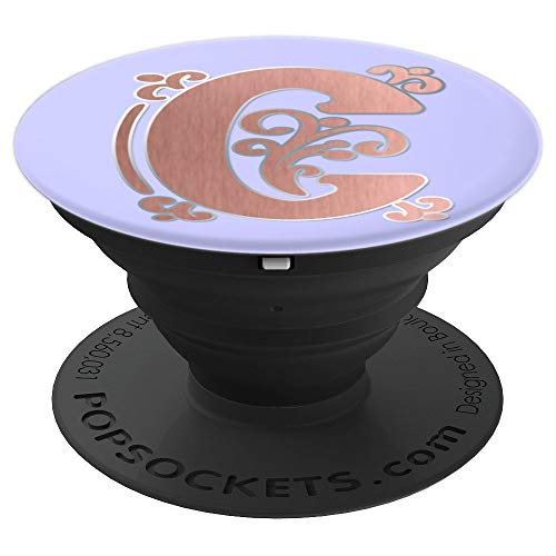 Periwinkle Purple Rose Blush Initial Monogram Letter C PopSockets Grip and Stand for Phones and Tablets