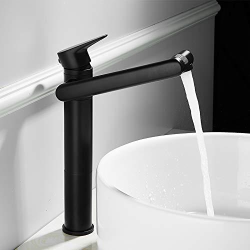 Basin Taps Draaibare Tuit Kraan Zwart Shampoo Kraan Warm en Koud Roterend Koper Badkamer wastafel Kraan High Section