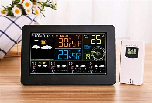 JieMiTe WiFi Clock Luftfeuchtigkeit Druck Wettervorhersage Digitaler Weckertemperatur mit drahtlosem Sensor-Colok mit 1 Sensor