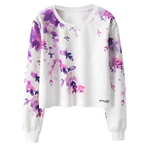 Autumn Teen Girl Long Sleeve t-Shirt Tops Womens Pullover Sweatshirt Casual Loose o-Neck Floral Print Sports Blouse (Purple, L)