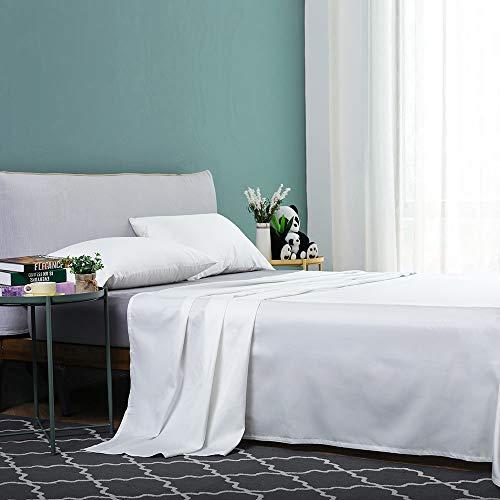 Vanc Home Mako Satin Bettlaken Ägyptische Baumwolle Einfarbig Betttuch (Weiß, 290x300cm)