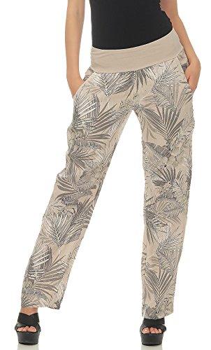 malito dames broek uit linnen | Stoffenbroek met jungle print | Vrijetijdsboek voor aan het strand | Chino - Joggingbroek 7790