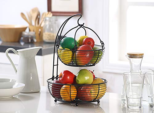 SunnyPoint Black Multifunction 2-tier Basket with Banana Hook