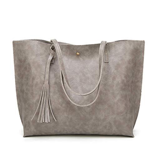 XYAZ Women's fashion one-shoulder oil wax leather big bag retro style simple mommy bag tassel big tote bag trendy handbag,gray