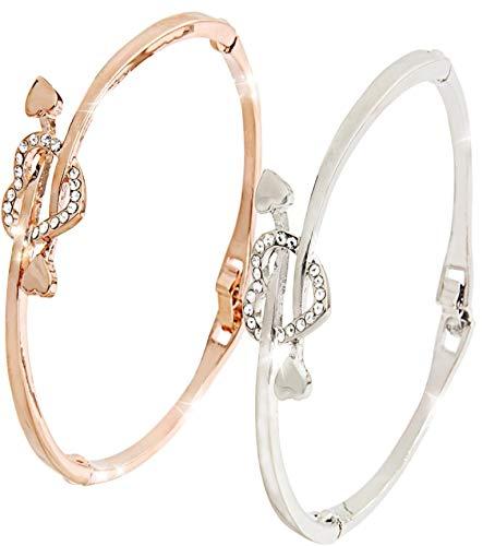 Cupids Heart & Arrow Silver Gold Bangles Bracelets for Womens Gifts Jewellery - With Gift Box + Polishing Cloth - U.K Jewellers, U.K Quality