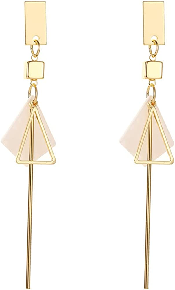 DIYANMMY Geometric Triangle Metal Simple Drop Dangle Earrings Plating Gold Bohemian Dangling Costume Earrings For Women Girl Personalized Fashion Jewelry Gift