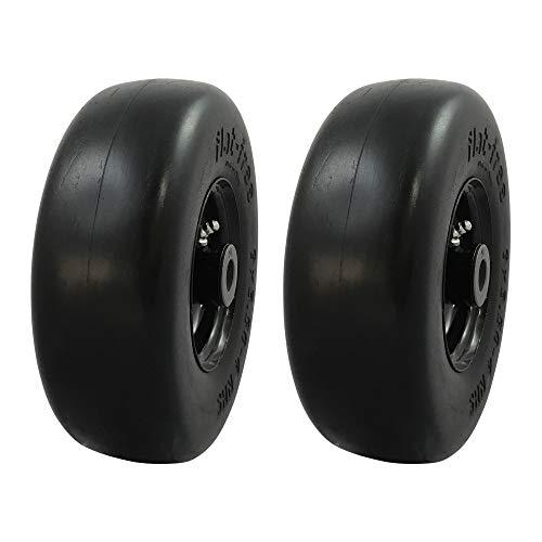 MARASTAR 00214-2pk Universal Fit Flat Free 9x3.50-4 Lawnmower Tire Assembly/Smooth Tread, Black