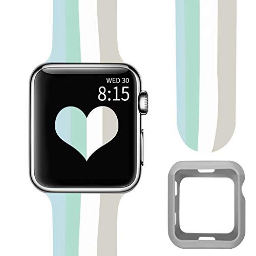 Vozehui - Correa de repuesto compatible con reloj Apple Watch de 44 mm, 42 mm, 40 mm, 38 mm, correa transpirable multicolor para iWatch Series 6/5/4/3/2/1 (con funda protectora)