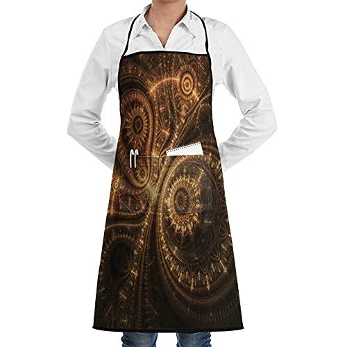 COFEIYISI Delantal de Cocina Diseño abstracto de reloj Steampunk,obra de arte fractal digital Delantal Chefs Cocina para Cocinar/Hornear