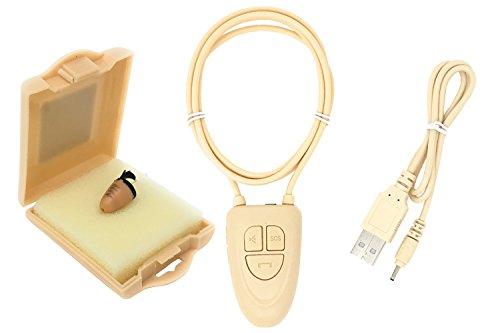 Sistema de Escucha espía, con Auriculares y Collar, Bluetooth, Color Beige