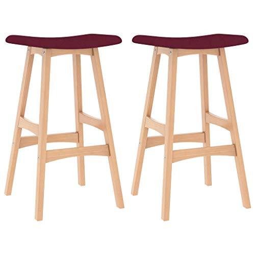 vidaXL 2X Sedie da Bar Sedie per Bancone Sgabelli per Pub Sedili Seggiole Sedie Alte Arredo per Bar Mobili Arredamento Rosso Vino in Tessuto
