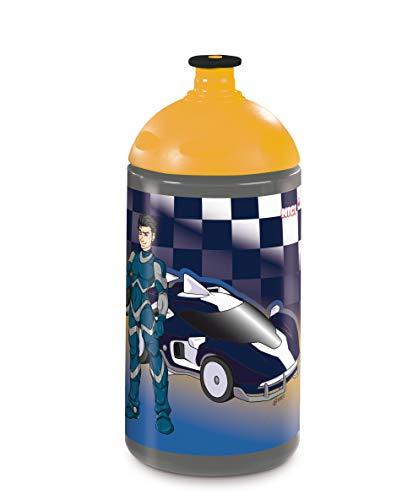 NICI 45467 Trinkflasche, Autorennen, 0,5l, grau