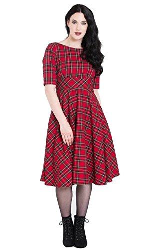Hell Bunny Vestido Irvine Tartán en Estilo de los 1950's Vintage Retro - Rojo (XL - ES 44)