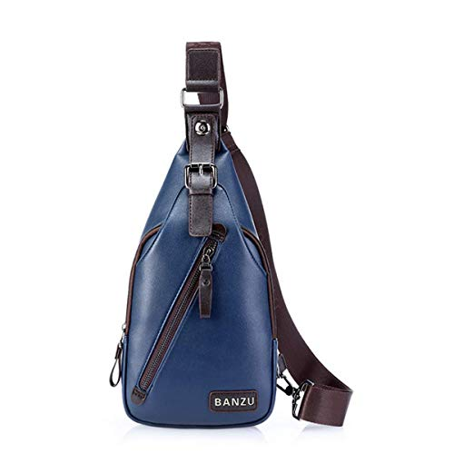 ZHD & CC Handgefertigte Herren Leder Messenger Bag Unisex Umhängetasche Schultertasche Messenger Bag blau