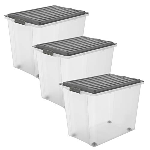 Rotho Compact 3er-Set Aufbewahungsbox mit Deckel und Rollen70 l, Kunststoff (PP), Anthrazit/Transparent, 3x70 Liter (57 x 39,5 x 43,5 cm)