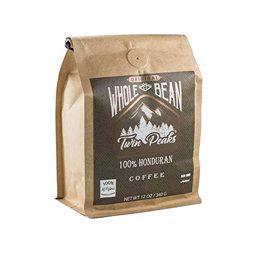 Twin Peaks Premium Coffee 100% Whole Bean Honduran Arabica Medium Roast Coffee, Non GMO, 12 Oz