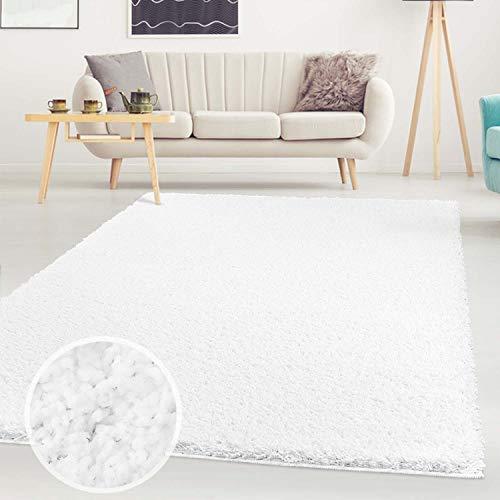 Carpet City ayshaggy Shaggy Teppich Hochflor Langflor Einfarbig Uni Weiß Weich Flauschig Wohnzimmer, Größe: 200 x 200 cm Quadratisch, 200 cm x 200 cm
