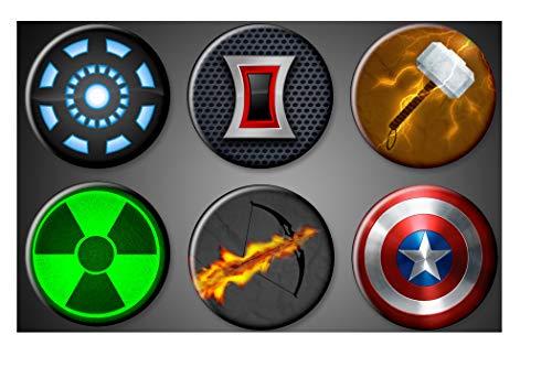 Avengers Symbols Magnets Large 1.75' Marvel Comics Superhero Captain Amercia Hulk Magnet Iron man Black Widow Thor Hawkeye Magnet