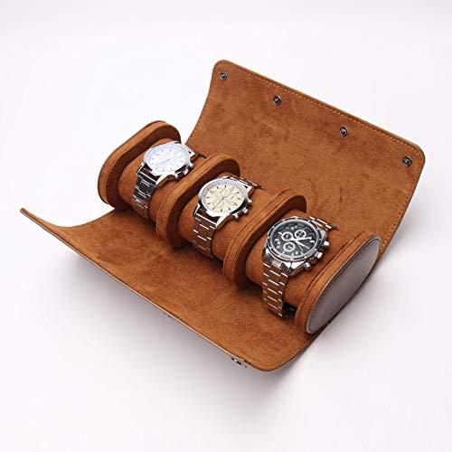 3 compartimentos para relojes retro, de piel sintética de poliuretano, bolsa de viaje, elástico, organizador de reloj, joyero, caja para reloj, accesorios, color marrón