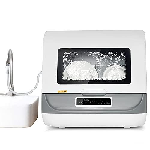Kacsoo Lave-vaisselle de Comptoir Automatique Portable, Mini Lave-Vaisselle, 3 Modes de Lavage 1200W, Conception Turbo, économie d'énergie, économie d'eau, Anti-Tartre