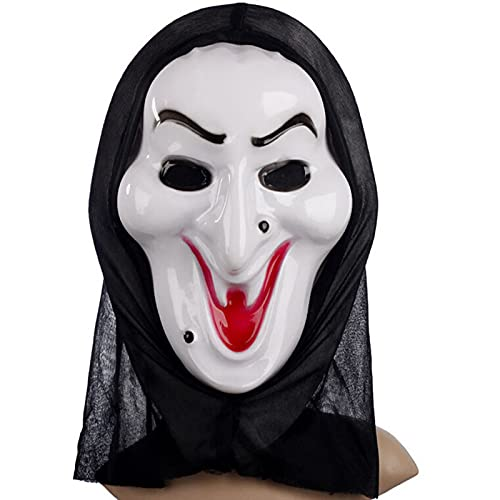 Yeah-hhi Máscara De Bruja De Halloween Máscara De Horror Gritando con Malla Transpirable para Fiesta De Halloween, Juego De rol, Fiesta De Disfraces, Accesorios De Disfraces,Blanco,15.7 * 7.9in