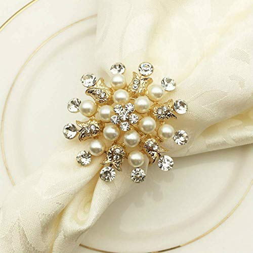 Joyindecor Napkin Rings Set of 6-Flower Pearl Rhinestone Napkin Ring Holder for Wedding Party Home Kitchen Dining Table Linen Accessories (Golden)
