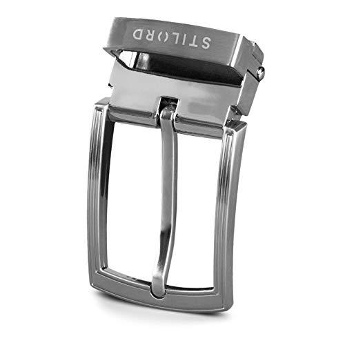 STILORD Hebilla de Cinturón Vintage Belt Buckle Cinturones Hebillas para Correa de Cuero 34mm, Color:hebilla cepillada - plateada I