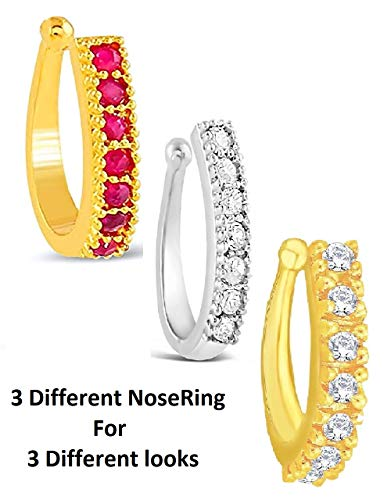 Vama Fashions Gold Plated Clip On Nose Rings Without Piercing for Women
