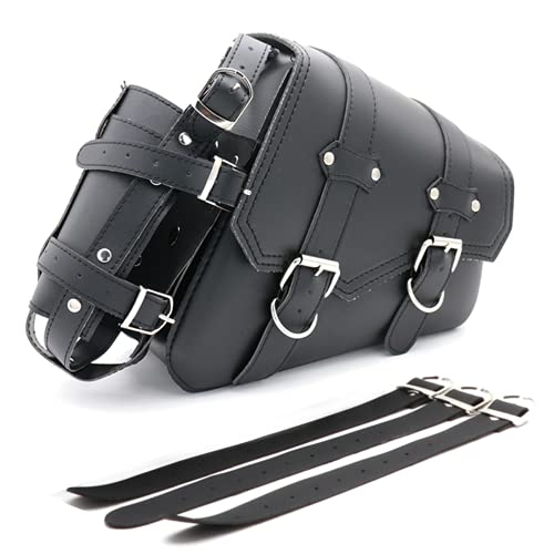 Motorcycle Saddle Bag with Cup Pocket Holder - Universal Motorcycle Tool Bag with Straps, PU Leather Waterproof Black Vintage Storage Side Bag(Right Side)