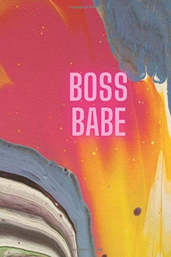 Journal Boss Babe: Pink Yellow Glow 120 page 6x9 college ruled blank journal with original artwork cover