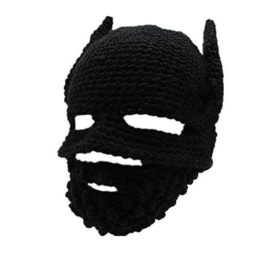 SCYTSD Winter Knit Unisex Beard Beanie Outdoor Hut Cap with Beard Wind Guard Warm Winter Ski Mask for Funny Fancy Carnival Party Dress,Black