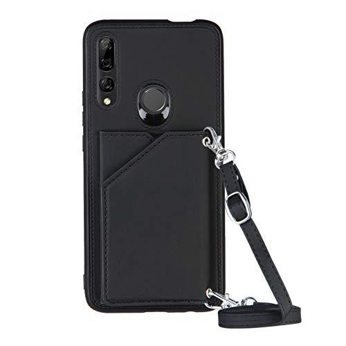 Funda para Huawei P Smart Z con Cuerda, Carcasa Cuero Premium PU Suave Case con Correa Colgante Ajustable Collar Correa de Cuello Cadena Cordón Ranuras para Tarjetas Anti-Choque Cover, Negro