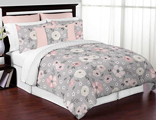 Sweet Jojo Designs Grey Watercolor Floral Girl Full/Queen Bedding Comforter Set Kids Childrens Size - 3 Pieces - Blush Pink Gray and White Shabby Chic Rose Flower Polka Dot Farmhouse