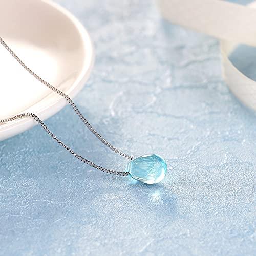 WDBUN Collar Colgante Fantástico Collar con Colgante de Gota de Agua de Cristal Azul, Cadena de clavícula para Mujeres y niñas, joyería Navidad Día de la Madre día de San Valentín cumpleaños Regalo