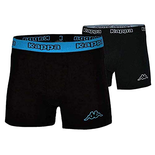 Kappa 4x Logo Boxer Short Herren Boxershorts 4 Stück Schwarz/Blau, Grösse:L