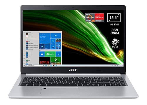 "Acer Aspire 5 A515-45-R2J2 PC Portatile, Notebook, AMD Ryzen 7 5700U, RAM 8 GB DDR4, 512 GB PCIe NVMe SSD, Display 15.6"" FHD IPS LED LCD, AMD Radeon, USB Type-C, Win 10 Home, Spessore 17.9 mm, Silver"
