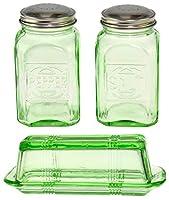 HOME-X バターディッシュと塩コショウシェーカーセット グリーンガラス