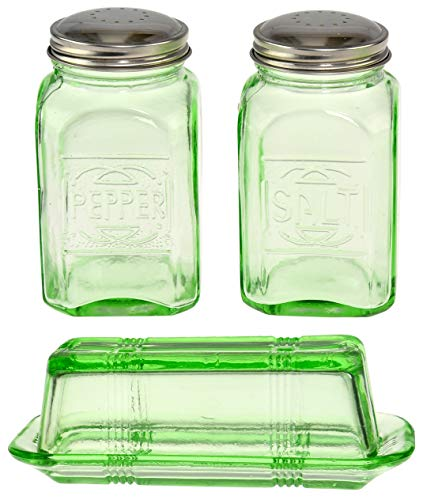 HOME-X Depression Style Butter Dish and Salt and Pepper Shaker Set, Green Glass