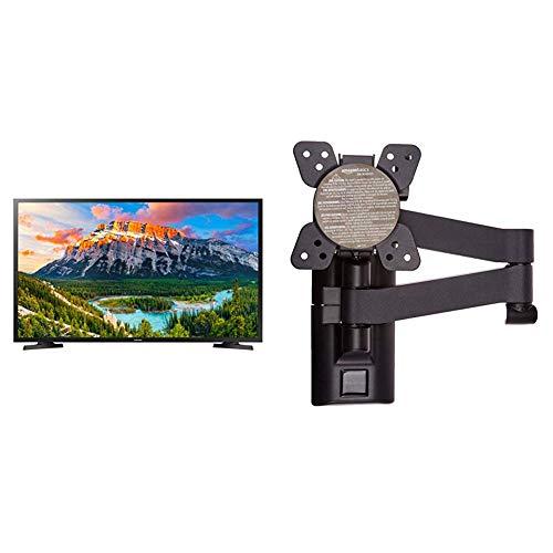 """Samsung UE32N5370AUXZT TV 32' Full HD DVB-C/T2/S2, Serie N5370, 1920 x 1080 Pixels, Nero, (2018) & AmazonBasics - Staffa snodata da Parete, per TV da 12"""" a 39"""""""