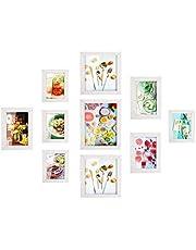 MVPower Set de 10 marcos de fotos Multiples para Pared, con Diferentes Tamaños de PDF, Decoración para Salón, Dormiorio, Pasillo, Regalo para la Navidad y el Año Nuevo(Blanco)