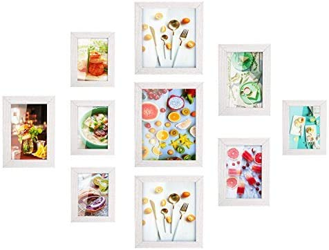 MVPower Set de 10 marcos de fotos 10 marcos de cuadros individuales Poster Photo Collage Home Decor (Blanco)