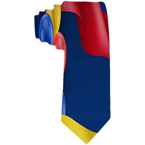 Herren Krawatte kolumbianische Flagge und Luftballons Polyester Seidenkrawatte