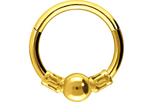 PIERCINGLINE Surgical Steel Segment Ring Clicker Ball Ear Helix Nose Septum Piercing Ring Choice of Colours and Sizes gold-coloured