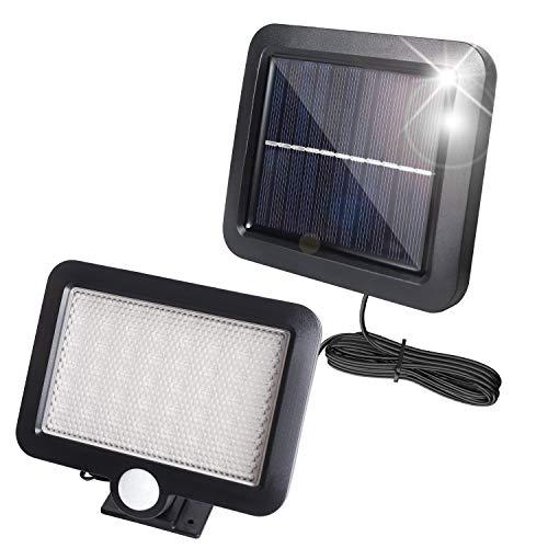 Chanurae Solarlampen mit Sensor für den Außenbereich, 56 LEDs 2835SMD Superhelle Solarleuchten und 120 ° Weitwinkelbeleuchtung, IP65 Wasserdichte LED-Wandleuchte für Garten, Garage, Feld, Hof