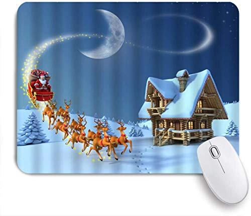 CIKYOWAY Mouse Pad,Christmas Santa Reindeer Snowy Wooden House Winter Holiday,Customized Mousepad Non-Slip Rubber Gaming Mouse Pad Rectangle Mouse Pads for Computers Laptop