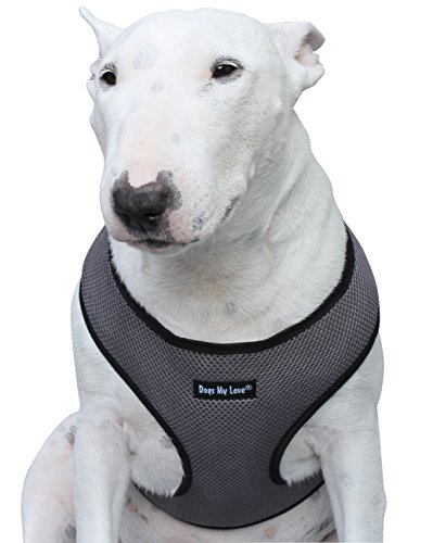 Dogs My Love Soft Mesh Walking Harness for Dogs and Puppies 6 Sizes Grey (XXL (Neck Max: 20
